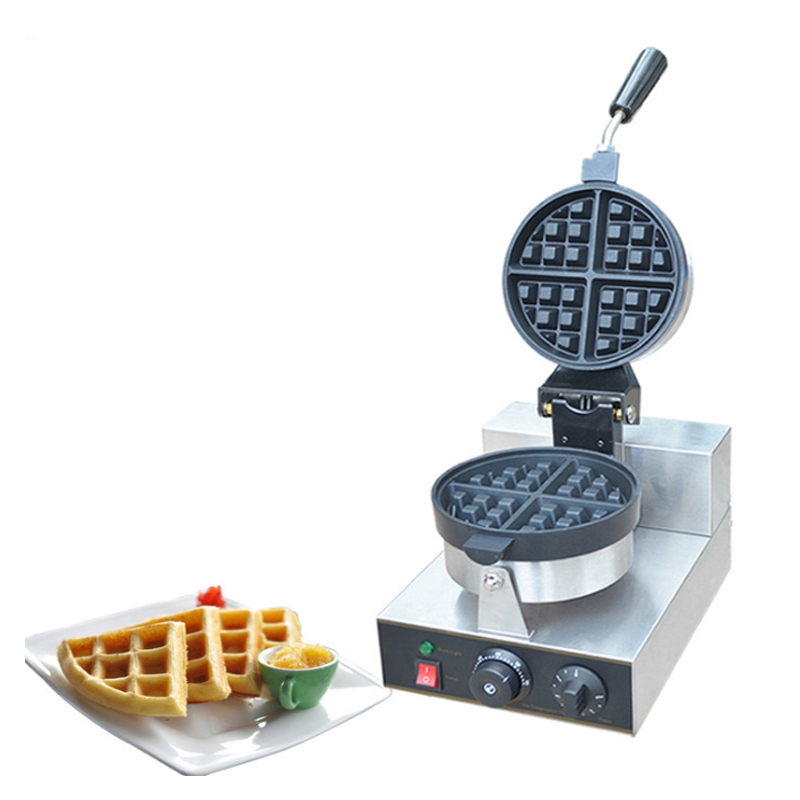Commercial Use Non-stick 220v Electric Rotating Round Standard Belgian Waffle Maker Iron Baker Machine Mold