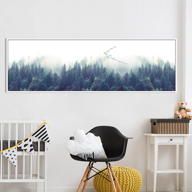 HDARTISAN Nordic Decor Foggy Forest Wall Art Poster Canvas Art Print Landscape Painting Wall Picture For Living Room No Frame