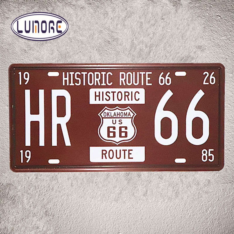 Route 66 Metal Sign Car Number License Plates Garage Poster Vintage Tin sign Restaurant Coffee Cafe Wall Stickers Decor Plaque