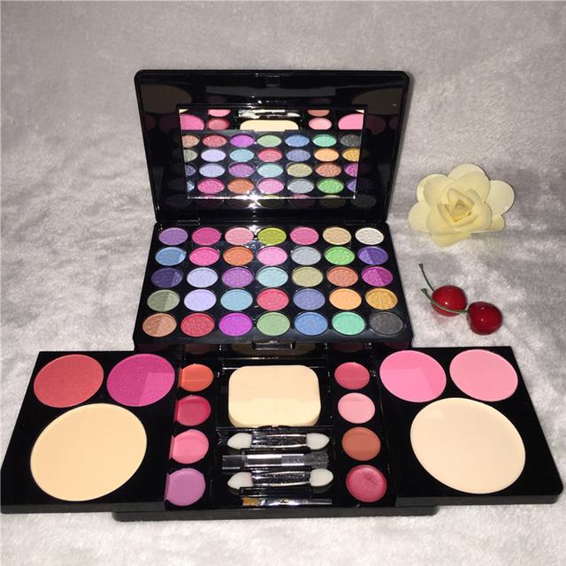 49 cores Profissional da sombra de maquiagem paleta de cosméticos Nua Nude shimmer matte sombra Blush lip gloss com escova kit