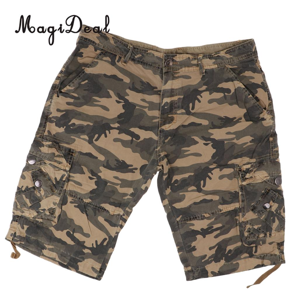 MagiDeal Men Short Trousers Outdoor Pants Vintage Combat Wear 34 Camo Khaki shorts