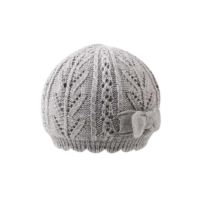 16ff9936 ... Knitted White Baby Beret Hat For Girls Bow Pricess Baby Beanie Double  Layer Autumn Winter Girls ...