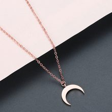 Chandler Summer Stainless Steel Crescent Moon Necklace Fashion Golden Rose Gold Moon Pendant Clavicle Chain Necklaces For Women(China)