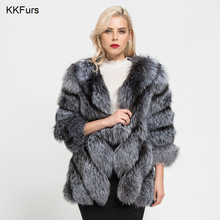 JKKFURS 2019 New Fashion Winter Warm Long Coat Real Fox Fur Jacket Women Natural Outerwear High Quality S7152