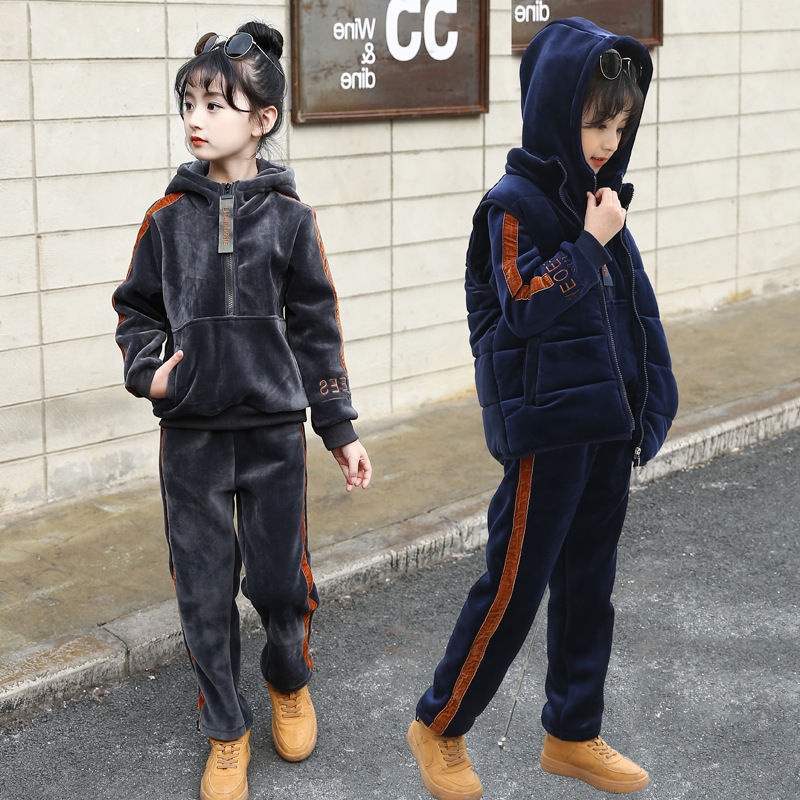 2018 Hot Boys Girls Tracksuits For Striped Children Clothing Sets Winter Outfits Cotton Thick Waistcoats & Hoodies & Pants 3pcs children clothing sets for girls sports suits cotton letter hoodies & shorts 2pcs kids boys outfits summer tracksuits 6 8 10year