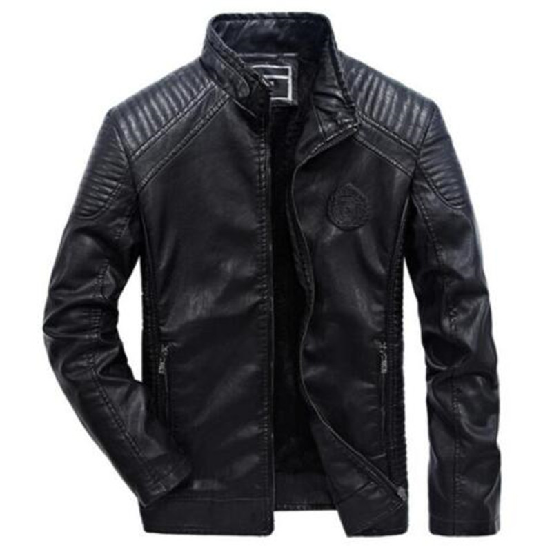 Jacket Coats Biker-Motorcycle Casual 5XL 6XL Fashion Pu Slim Collar Warm-Stand Plus-Size