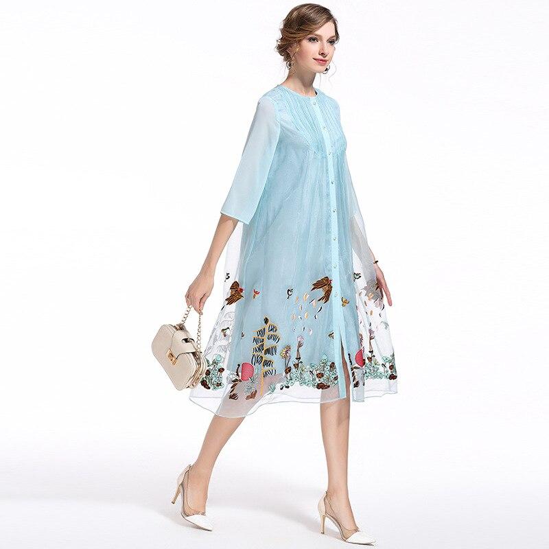 estate allentato fiore abiti nuova vendita calda primavera grandi cantieri ricamo vintage dress donna