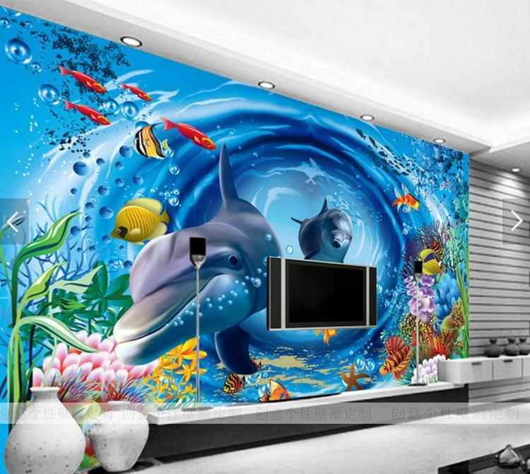 Free Shipping Large mural 3D underwater world bedroom Theme Room Hotel Restaurant KTV children room wallpaper mural large mural wallpaper wallpaper ktv theme hotel restaurant 3d d poster three shark underwater world