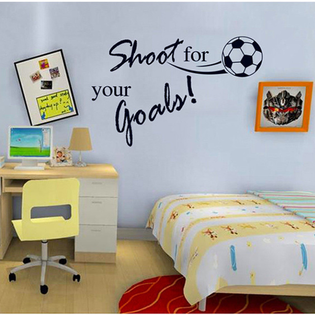 Shoot For Your Goal Letter Football Sport Wall Decals Wallpaper Kids Wall  Stickers Children Room Decor