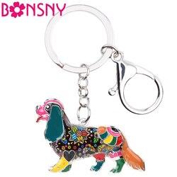 Bonsny эмаль кавалер король Шарль спаниель брелок кольцо для ключей с сумочкой сумка Шарм брелки с собаками подарки сувенир ювелирные изделия ...