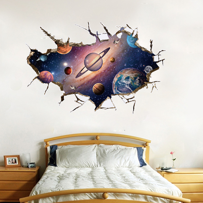 abnehmbare 3d planeten wandaufkleber wasserdicht vinyl kunst wandtattoo universum sterne tapeten. Black Bedroom Furniture Sets. Home Design Ideas