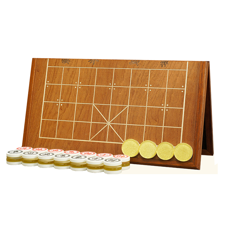 BSTFAMLY Chinese Chess Wooden Box 32Pcs/Set Old Game of Go Xiang Qi International Checkers Folding Toy Gifts No Magnetic LC10 chinese chess 2 thick double faced laser line bamboo dual board set child 331 1pcs lot