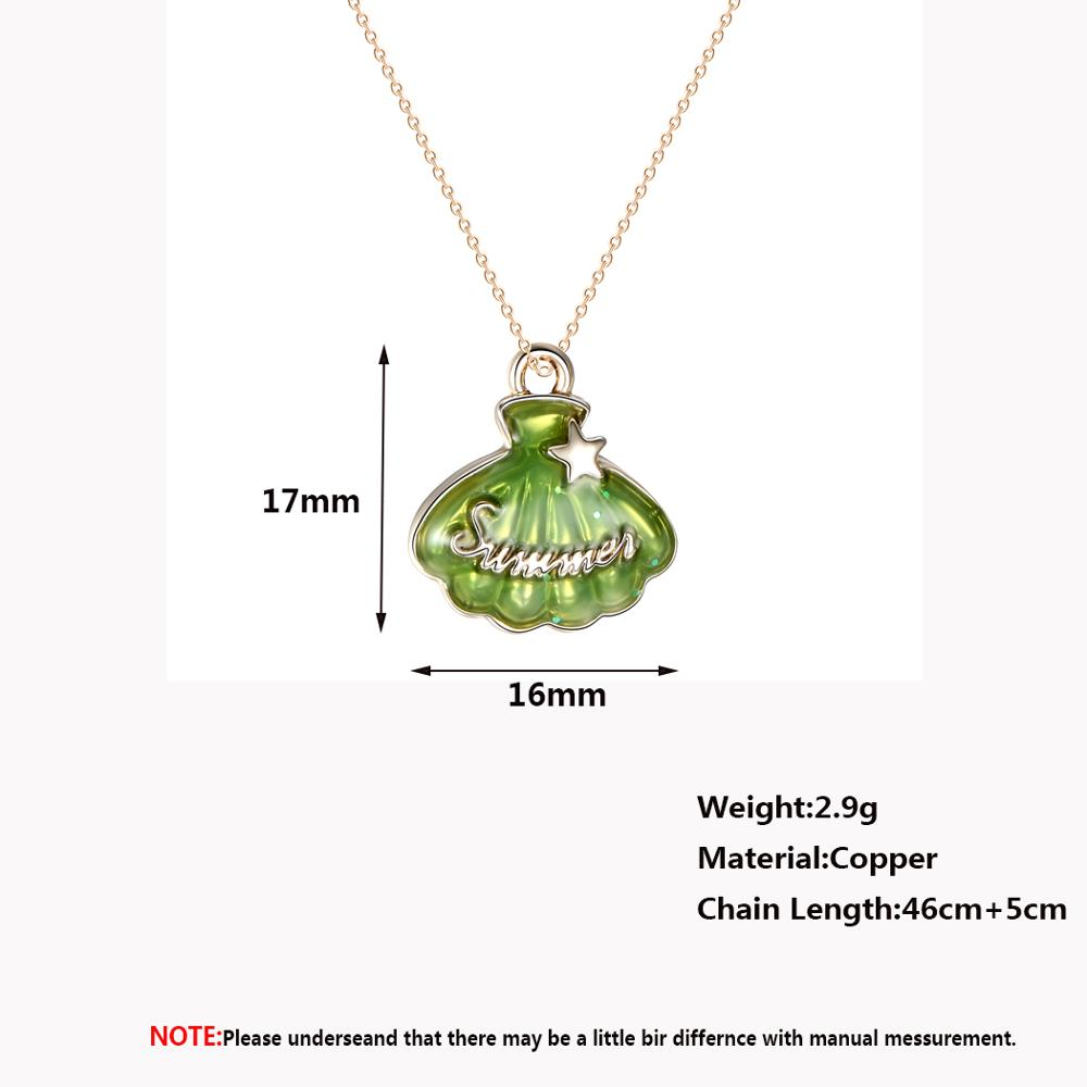 Chandler Green Enamel Bell Pendant Necklace Beautiful Gold Color Statement Summer Chokers For Women Girls Slim Chain Dropship
