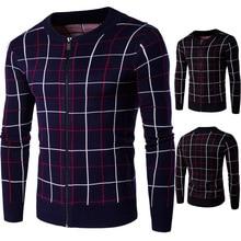 2016 Hot sell Men's plaid Sweaters Winter Warm Sweater coat Zipper Collar Casual Cardigan Men Sweaters Pattern Knitwear 2XL