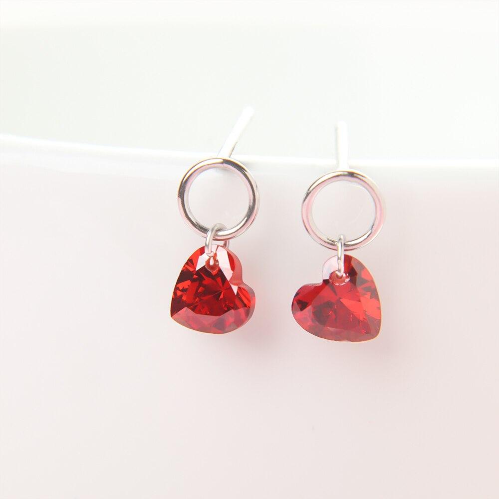 1Pair Fashion Women Red Heart Shape Stud Earrings Red Synthetic Zircon Delicate Stud Earrings Jewelry Gift