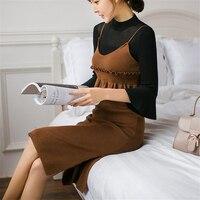 DoreenBow Mới Mùa Thu Mùa Đông Phong Cách Dệt Kim Dây Đeo Váy Phụ Nữ Fahion Đàn Hồi Ruffles Trim Không Tay Màu Đen Cà Phê Ăn Mặc, 1 Piece