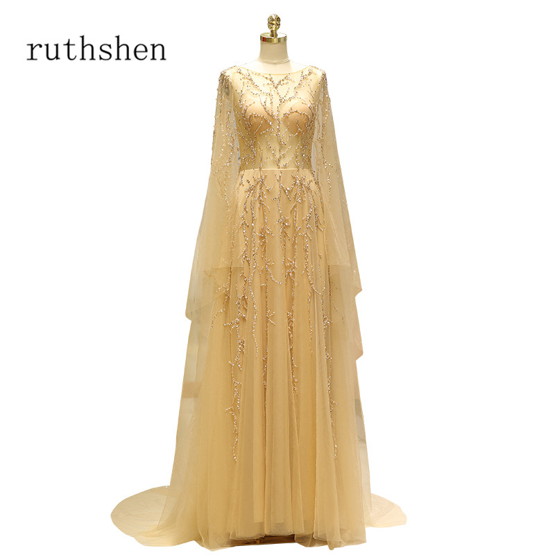 ruthshen 2018 New Illusion Gold   Prom     Dresses   Long Sleeves Beaded Formal Party   Dress   Vestido De Formatura Special Occasion Gowns