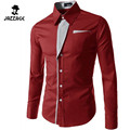 2016 Mens Casual Shirts Long Sleeve Shirt Lapel Business Slim Fit Male Shirt Social Striped Clothes Chemise Homme Plus 58455