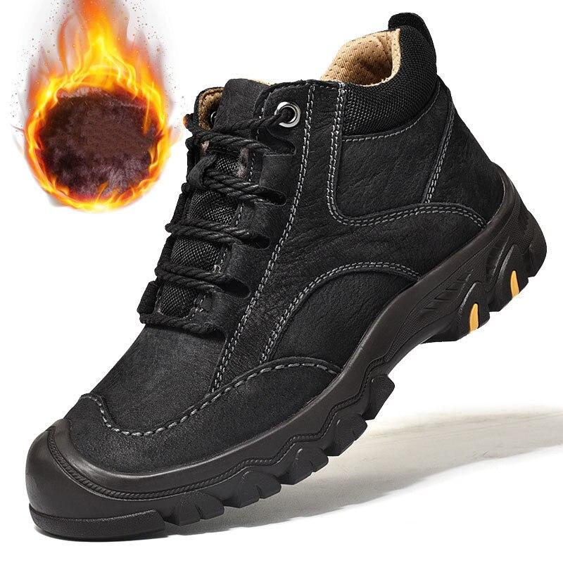 Outdoor Climbing Tactics Shoes Male Winter Fleece Warm Men Genuine Leather Waterproof Military Non slip Combat