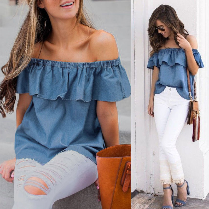 Off Shoulder Top Women Blouse Vintage Denim Solid Blue Costume Ruffle Summer Slash Neck Casual Loose Blouse