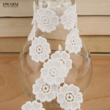 10yard white lace fabric ribbon baby shower edding decoration festival gift trim hollow milk silk water-soluble embroidery