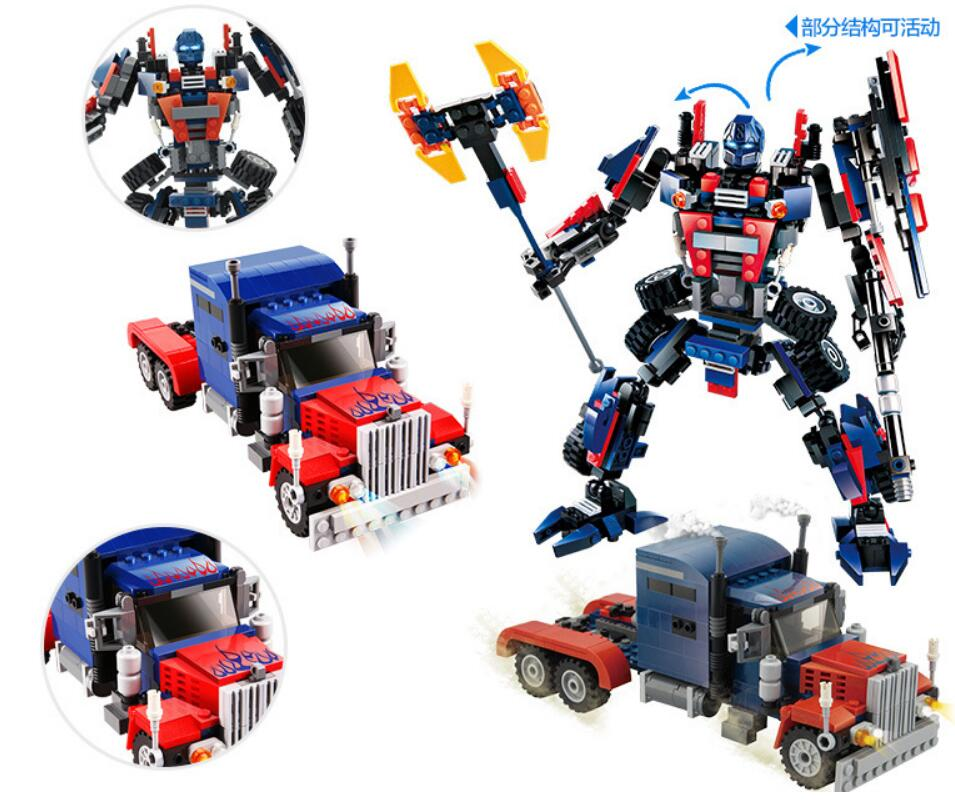 2 in 1 377pcs Transformation Series Transform Robot Car Big Truck Building Block Model Toy Gift For Kids Boy 8713 in Blocks from Toys Hobbies