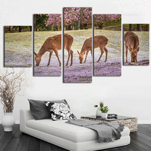 Cute Deer Canvas Painting Calligraphy 5 Pieces Modern Home Wall Decor Picture Art HD Print Painting On Canvas For Living Room