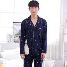 Мужские из 100% хлопка с длинными рукавами пижамный комплект пижамы для мальчиков комплект большие размеры Пижама hommey L-3XL A9075