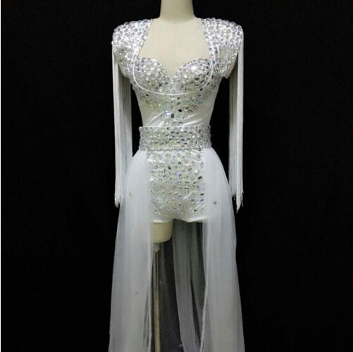 Dedicated Fashion Female Singer Neon Rose White Dj Ds Powder Sparkling Crystals Rhinestone Fashion Epaulette Train Nightclub Dance Wear