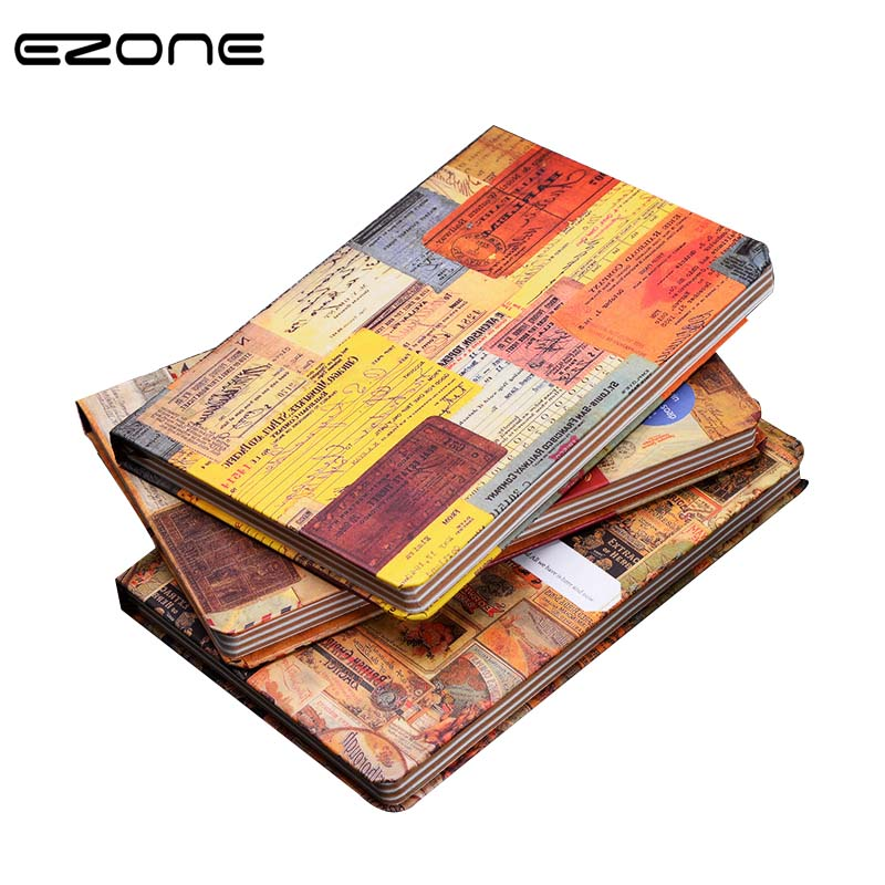 EZONE Vintage Creative Style Notebook Retro Diary Colored Printed Note Book Personal Planner Sketchbook Office&School Supplies joudoo vintage classic galaxy night sky printed note book for kids daily week planner notebook school office supplies notepad