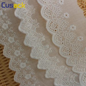 Cusack 2 yards 183 cm Cream Cotton Lace Trims for Costume Dress Trimmings Ribbon Applique Strip DIY Sewing Lace Fabric 5 Models