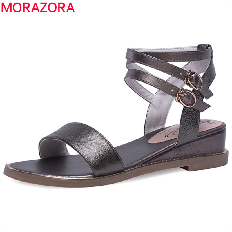 MORAZORA 2019 newest wedges shoes woman genuine leather shoes ankle buckle summer shoes fashion simple women sandals whiteMORAZORA 2019 newest wedges shoes woman genuine leather shoes ankle buckle summer shoes fashion simple women sandals white