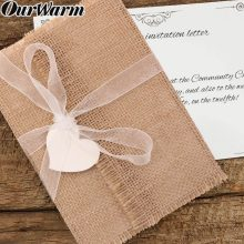 OurWarm 50Pcs Wedding Invitations Paper Blank Card Heart Lace Burlap Envelope Party Favors Gifts For Guest Wedding Decoration(China)