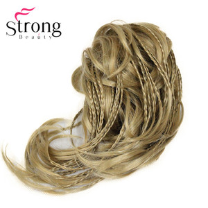 Image 5 - StrongBeauty قصيرة صغيرة الضفائر مزين مستقيم متموجة شعر مستعار لعمل تسريحة ذيل الحصان هيربيسي المخلب كليب اللون الخيارات