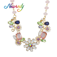 Newindy De Luxe Bijoux Charme Printemps Couleur Fleur Choker Schmuck Grand Col Collier Les Néréides(China)