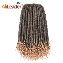 Alileader Goddess Locs Ombre Brown Blonde Faux Locs Curly Crochet Hair Braids 24 roots/pack Braiding Synthetic Hair Extension
