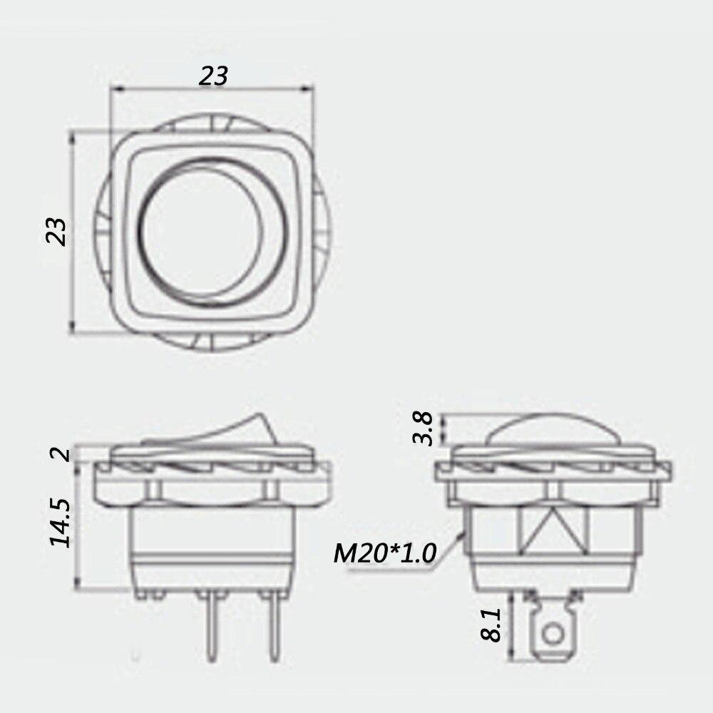 4× Waterproof R13-223A Round Rocker Switch SPST 2Pin 10A//250VAC 16A//125VAC