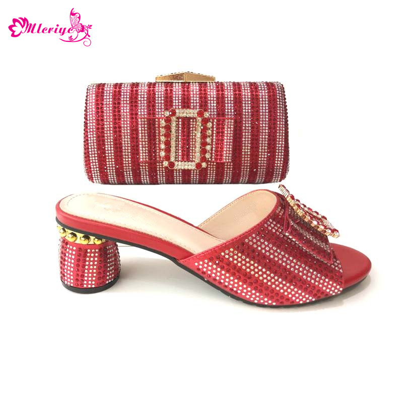 Latest African Shoe with Matching Bag Set Women Shoes and Bag Set In Heels Matching Italian Shoe and Bag Set for Party In Women hot glitter italy matching shoe and bag set with shinning stones with free shipping for party in sl08 size 39 43 red