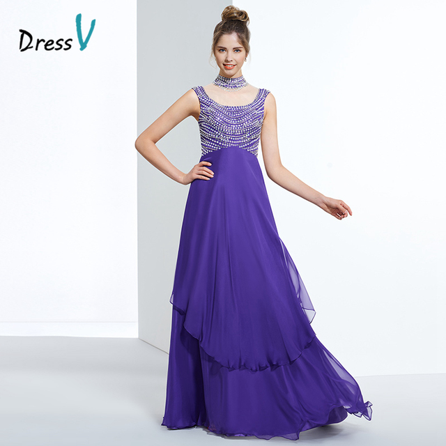 038f2715c3 Dressv indigo a line chiffon long prom dress high neck beading cap sleeves zipper  up formal dress women evening party prom dress