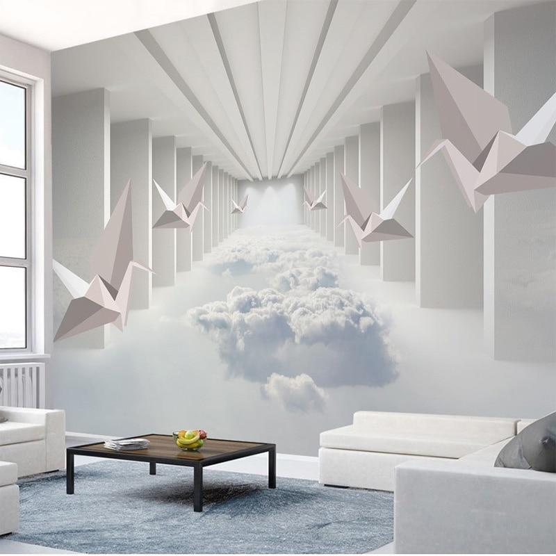 Custom 3D Wallpaper 3D Paper Crane Abstract Architecture Cloud Simple Home Decor Wall Mural Living Room Bedroom Papel De Parede