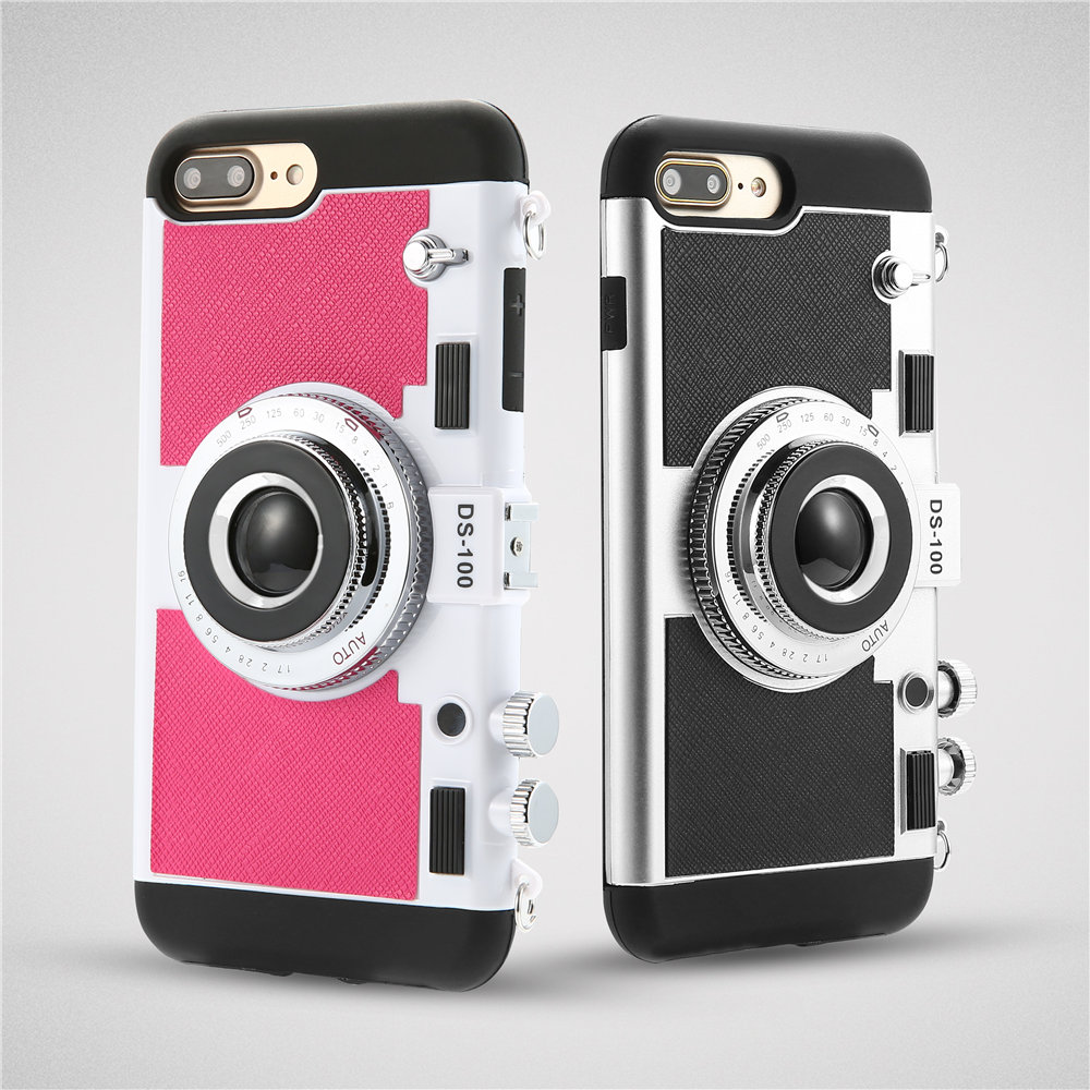 premium selection 255fd 011fa US $4.39 15% OFF|Retro 3D Camera Design Phone Cases For iPhone 7 6 6s Plus  5 5s SE Case Novel 2 in 1 Soft Silicone + PC Back Cover With Lanyard-in ...