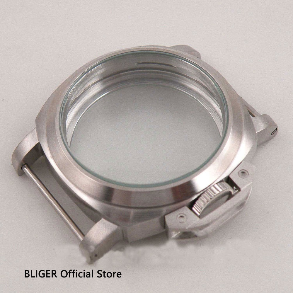 Newest Bliger 44mm stainless steel brushed case mineral glass fit 6497 6498 ST3620 ST3600 movement men