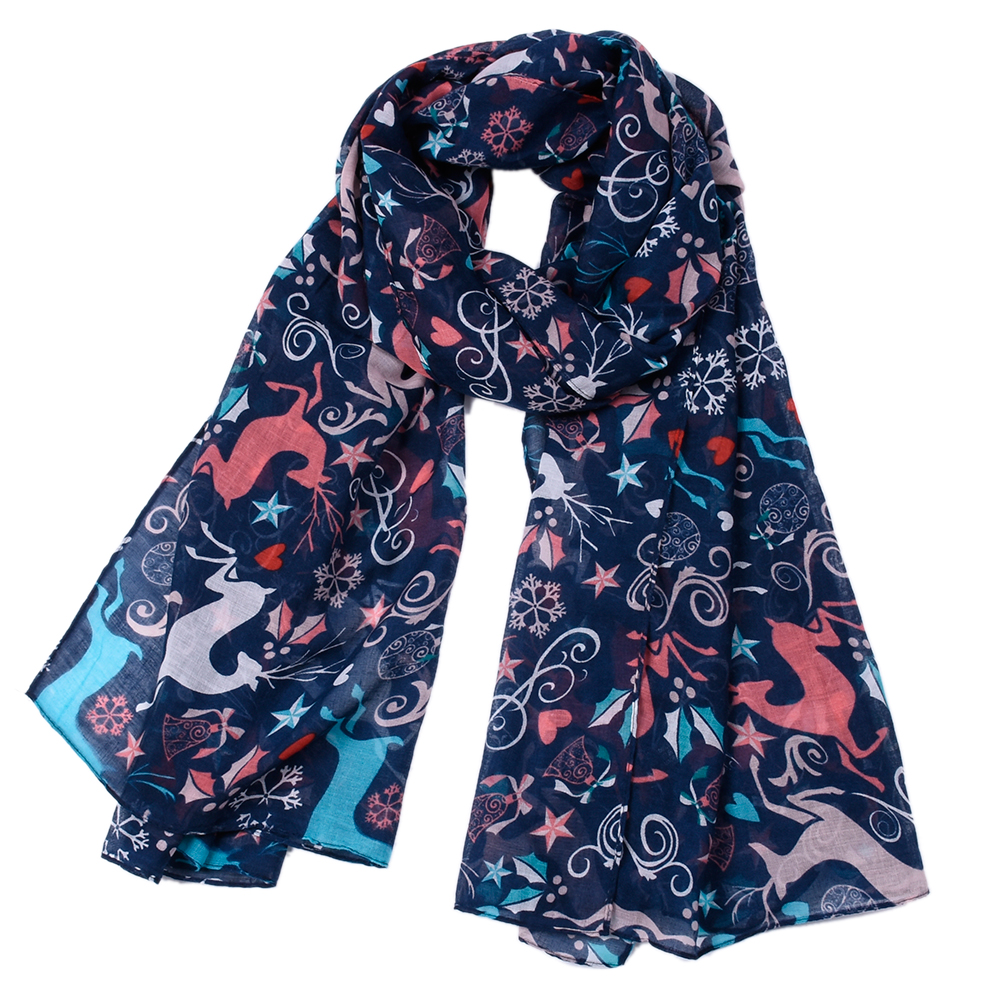 new designer christmas scarf drop shipping loop scarf women moose scarves print deer infinity scarf cotton viscose woman shawl in scarves from womens