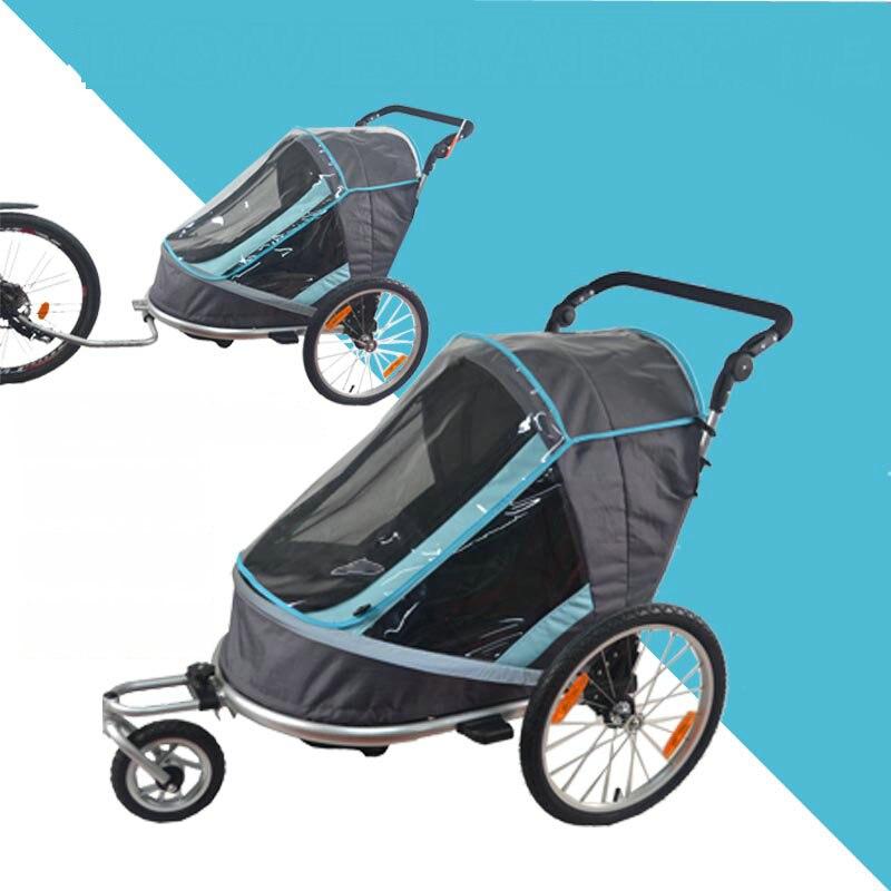 Dobre Bicicleta Reboque, crianças de Jogging Stroller, Combo 2 em 1 Criança Jogger Reboque, pode conter 2 crianças reboque carrinho de bebê