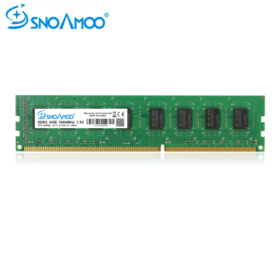 SNOAMOO <font><b>DDR3</b></font> <font><b>RAMs</b></font> <font><b>4GB</b></font> 1600MHz PC3-12800S Desktop PC Memory 240 pin 2GB 1333MHz New DIMM For Intel Computer ARM Lifetime Warranty image