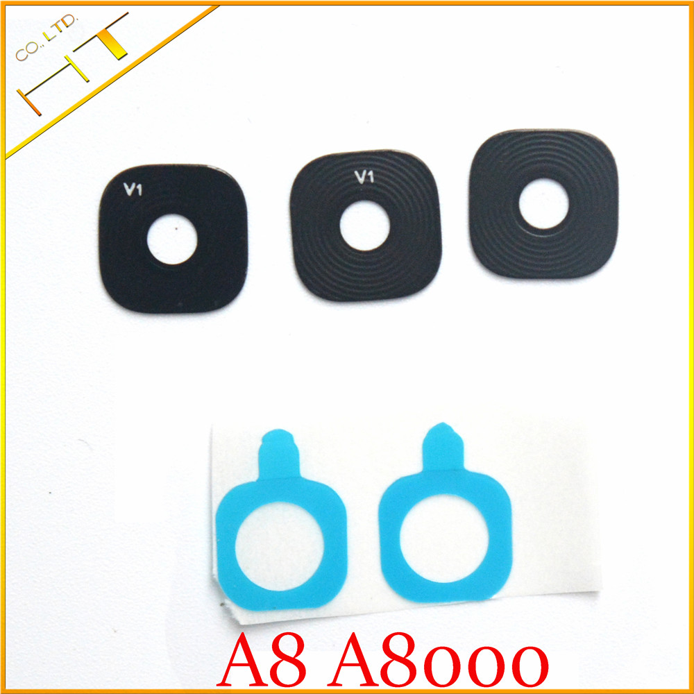 2pcs Glass material Back Main Camera Ring Cover Lens with sticker for <font><b>samsung</b></font> galaxy <font><b>A8000</b></font> A8 image