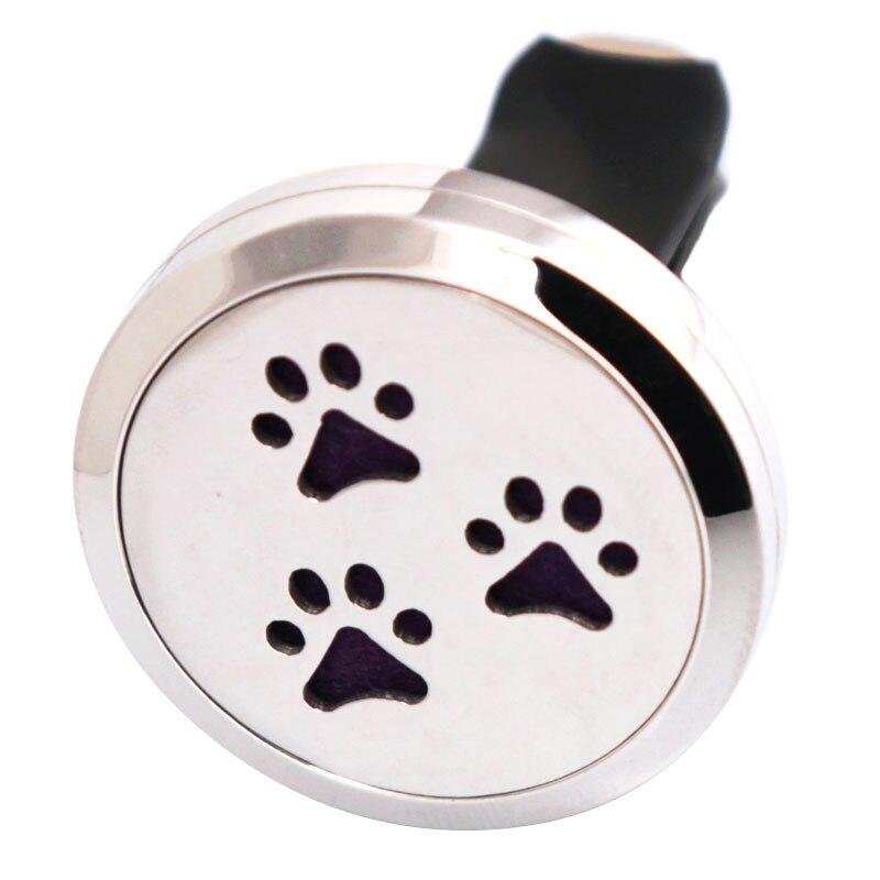 Amya Jewelry Dog Palm 30mm Diffuser 316 Stainless Steel Car Aroma Locket Essential Oil Car Diffuser Locket Free 10Pcs Felt Pads