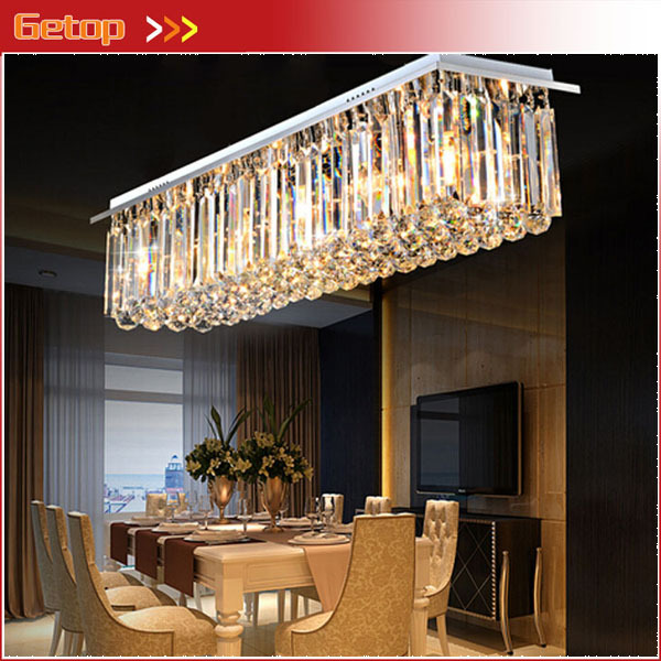 Modern Crystal Chandelier Restaurant Lights Rectangular Led Light Living Room Ceiling Lighting Fixtures Bar