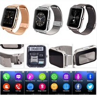 NFC Bluetooth Smart Watch Phone With SIM TF Card Slot Stailess Steel Strap For Samsung IPhone