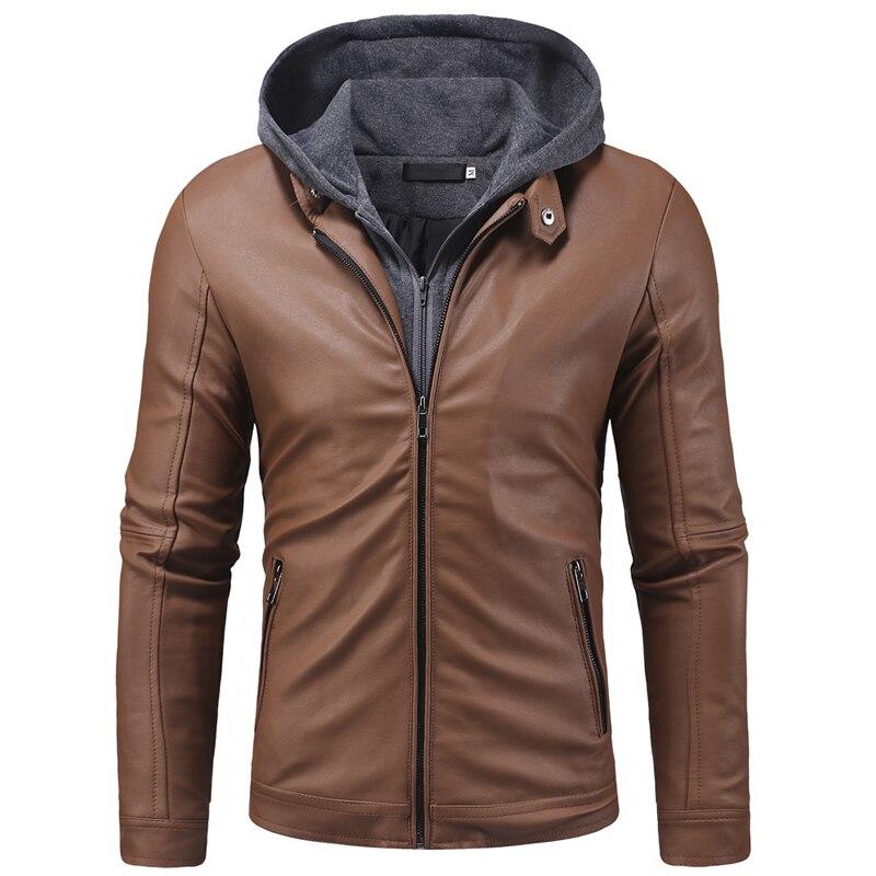 Cuir Jaket hommes nouvelle mode faux deux pièces tricoté à capuche hiver vestes hommes décontracté haute qualité moto manteau